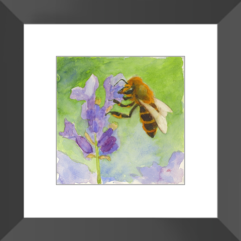 "Framed Art Print - ""Honeybee on Lavender"""