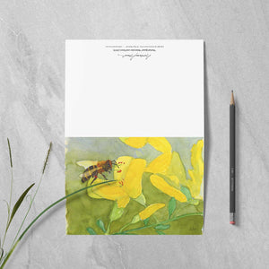 "Box of 10 Note Cards - ""Honeybee on Scotch Broom"""
