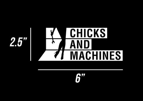 Autocollant Chicks And Machines 6″ x 2.5″ Blanc