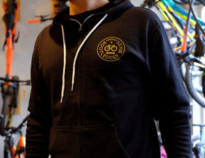 Bootlegger Bikes Hoodie - Black with Gold Derailleur