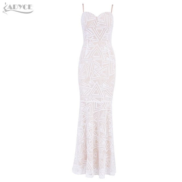25bd68a7c4164 Adyce 2019 New Summer Celebrity Party Dress Women Sexy White Spaghetti  Strap V Neck Sequin Lace Backless Maxi Floor Club Dresses