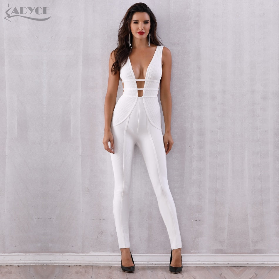 f08b1304f3e7 Adyce New Summer White Bandage Jumpsuit Rompers Vestidos Verano 2019 Sexy  Sleeveless Deep V Hollow Out