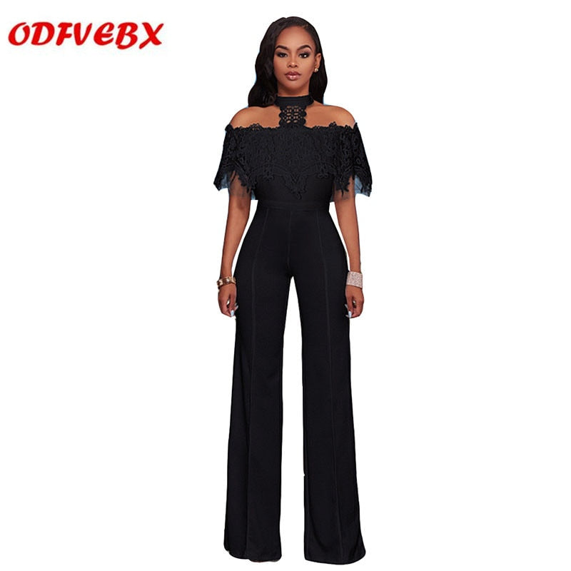 30d4fac212576 2019 new summer casual ladies jumpsuit fashion water soluble lace tube top  hanging neck wide leg