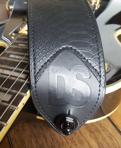 Guitar & Bass Black Snake Skin Strap With Sleek Nylon Length Adjuster