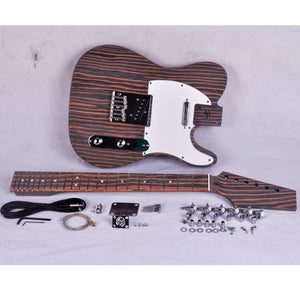 DIY Electric Guitar Kit Zebrawood Body and Neck TL Style