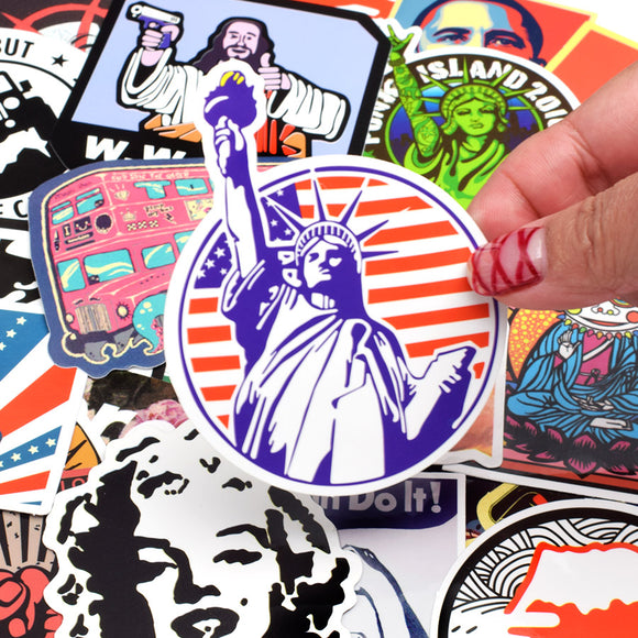 50 PCS Retro Style Sticker Graffiti for electric guitar bass guitar acoustic guitar guitar amp