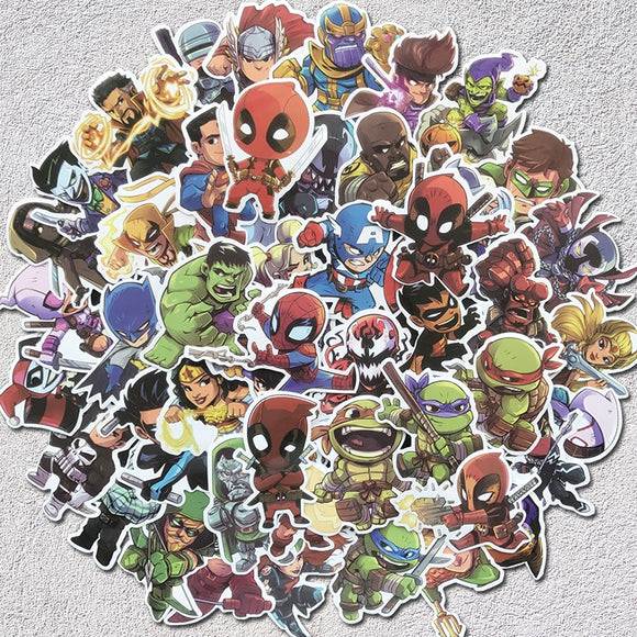 50 Pcs Super Hero Stickers MARVEL DC Graffiti Sticker For electric bass acoustic Guitars