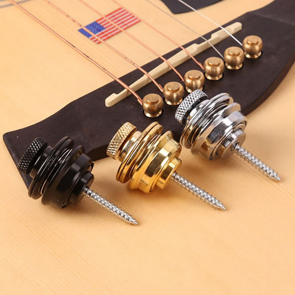 Guitar Strap Lock Chrome Plated Straplock Button for All Acoustic Electric Bass Easy Fix & Remove Screw drop ship