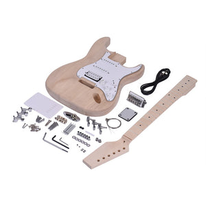 ST Style Unfinished DIY Electric Guitar Kit Basswood Body Maple Neck Maple Fingerboard