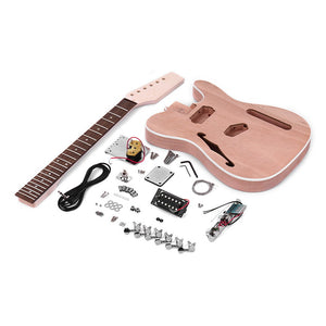 TL Tele Style Unfinished Electric Guitar DIY Kit Mahogany Body with F Sound hole Maple Wood Neck Rosewood Fingerboard