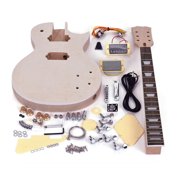 LP Style Unfinished Electric Guitar DIY Kit Set Mahogany Body & Neck Rose Wood Fingerboard