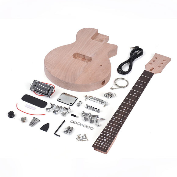 Children LP Style Unfinished DIY Electric Guitar Kit Mahogany Body & Neck Rosewood Fingerboard Single Dual-coil Pickup