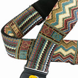 African style leather head cotton acoustic, electric, bass guitar strap