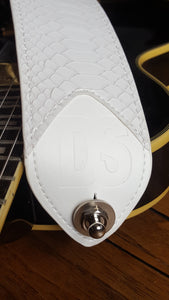 Guitar & Bass White Snake Skin Strap With Sleek Nylon length Adjuster