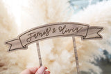 custom calligraphy wood banner cake topper | light or dark wood