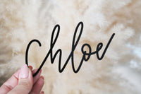 custom hand lettered calligraphy place setting name | acrylic or wood