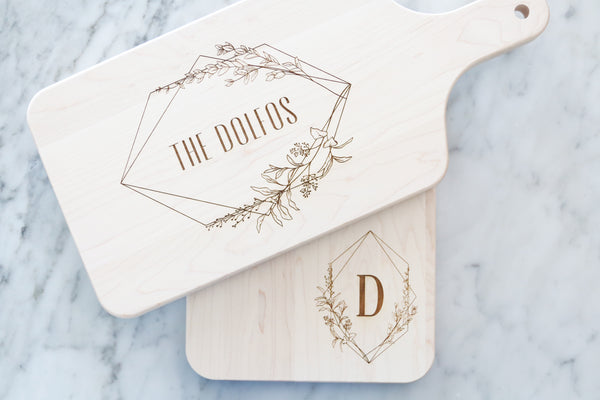 custom floral geometric frame wood board set | personalized