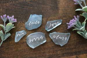 custom calligraphy sea glass // wedding place cards | seating cards | seating assignments | escort cards
