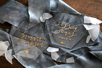 "4"" custom calligraphy acrylic hexagon place cards 
