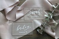 custom calligraphy acrylic rectangle wedding place cards