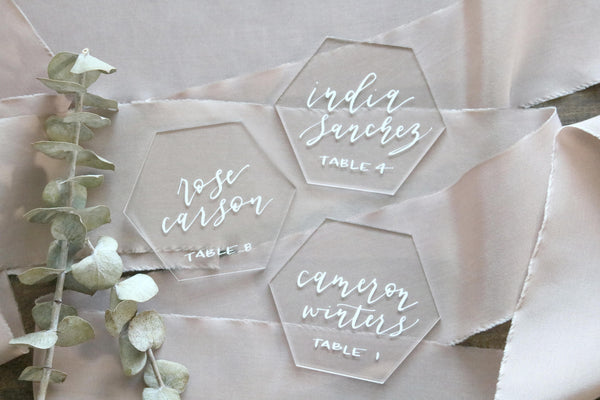 "3"" custom calligraphy acrylic hexagon place cards 