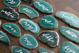"2"" - 3"" FREEFORM custom calligraphy green agate slices // wedding place cards - seating cards - escort cards"