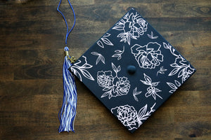 graduation cap topper with floral botanical design | grad cap topper | graduation cap topper | cap decal sticker