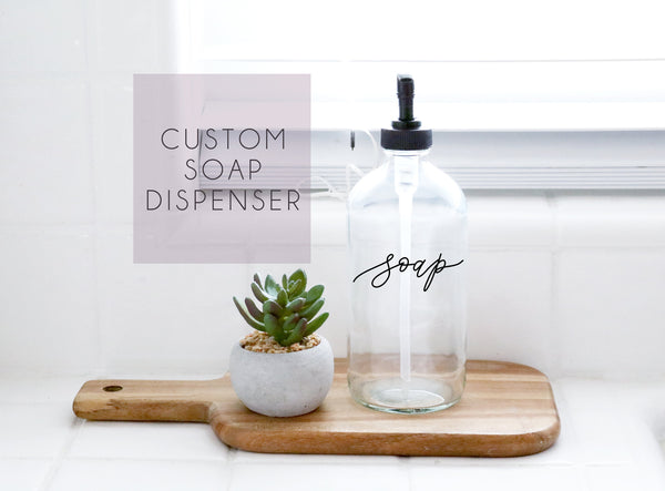 single custom calligraphy clear soap dispenser 16oz