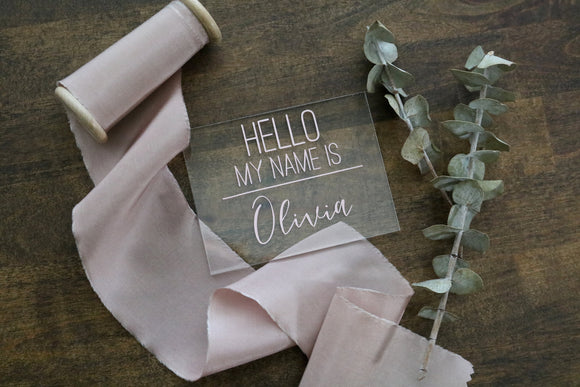 custom calligraphy 'hello my name is' acrylic sign | CHOOSE THE COLOR | baby introduction | baby name announcement | newborn | gender reveal