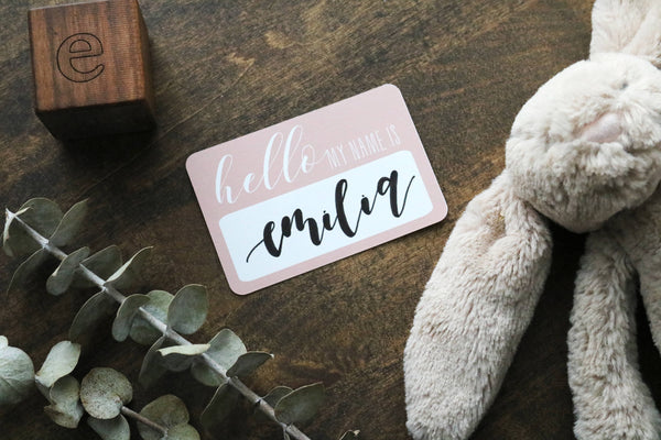 custom calligraphy 'hello my name is' sticker