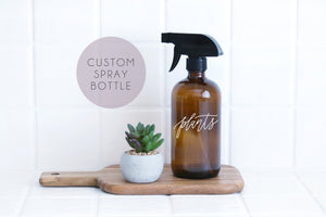 custom calligraphy amber glass spray bottle | farmhouse kitchen | farmhouse bathroom | modern cleaner | essential oil | natural cleaner