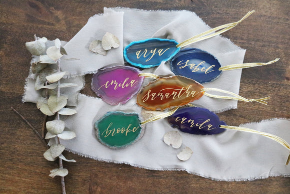custom christmas calligraphy ornament agate slice |  multiple colors available | CHOOSE YOUR COLOR