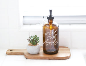 WASH YOUR HANDS | calligraphy amber or clear soap dispenser | farmhouse kitchen | modern kitchen | industrial kitchen | kitchen decor | bath
