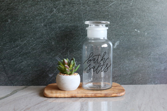 custom calligraphy clear 250ml apothecary jar | farmhouse bathroom | bathroom decor | bathroom organizer | bathroom jar | bathroom canister
