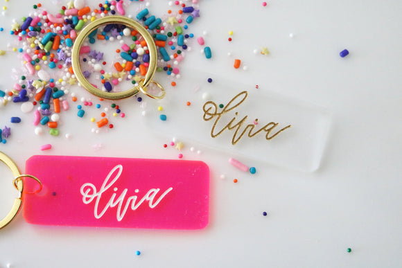 custom calligraphy name keychain | clear or fluorescent pink | personalized | gift | backpack | key chain