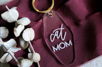 cat mom motel keychain | clear or fluorescent pink