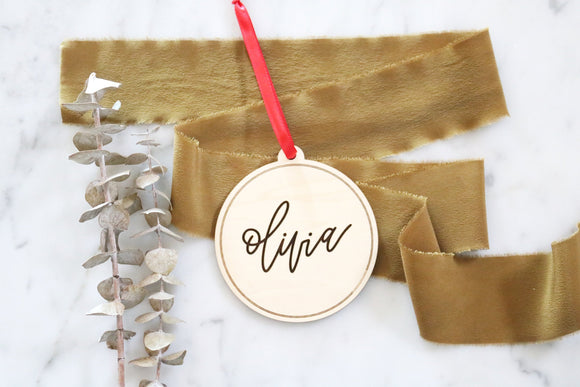 custom calligraphy wood christmas ornament | personalized name | custom name | christmas gift | stocking tag | present |laser engraved |