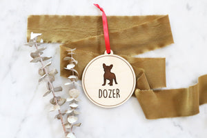 custom pet silhouette wood christmas ornament | frenchie | french bulldog | cat | custom dog | christmas gift | stocking | laser engraved