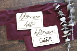 custom hand lettered 'hello my name is' wood sign | baby name tag | photo prop | introduction | name announcement | newborn | laser engraved