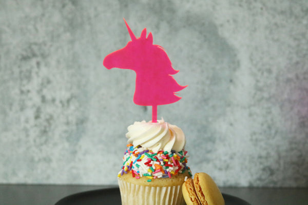 unicorn cake cupcake topper | set of 4