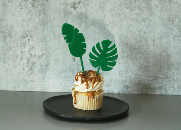 tropical leaf acrylic cake cupcake topper | set of 2