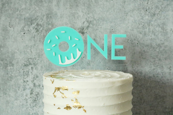One donut birthday acrylic cake topper | CHOOSE YOUR COLOR