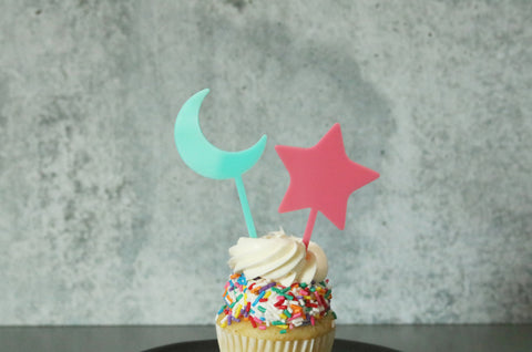 moon and star acrylic cake cupcake topper | set of 2