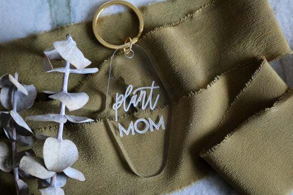 plant mom motel keychain | clear or fluorescent pink | plant lover | gift |