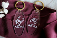 dog mom motel keychain | clear or fluorescent pink