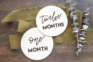 set of wood baby age monthly milestone signs | baby gift | keepsake | baby shower | first year | month to month | new baby | laser engraved