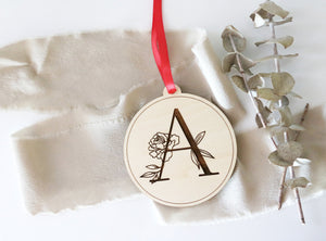 custom floral letter wood christmas ornament | floral initial | laser engraved | CHOOSE YOUR LETTER