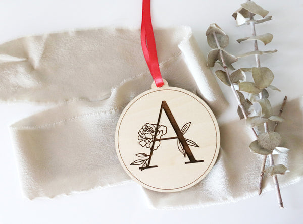 custom floral letter wood christmas ornament