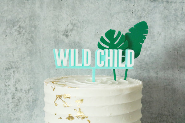wild child double layer birthday acrylic cake topper