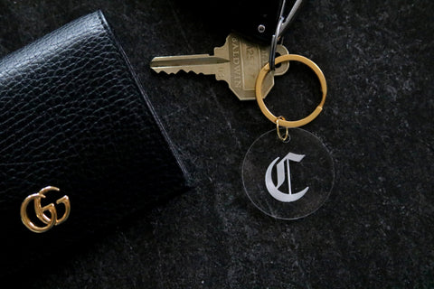 custom gothic initial letter keychain